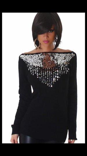 Exclusiver Damen Pullover mit vielen Pailletten schwarz Gr 38
