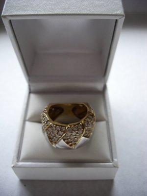 Exclusiver Ring silber/goldfarben mit vielen Stass Steinen   16 cm