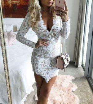 Robe de cocktail blanc tissu mixte