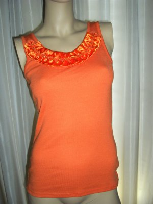 Exclusives Rippen Tank Top Orange mit Perlen bestickt Gr 38 NEU