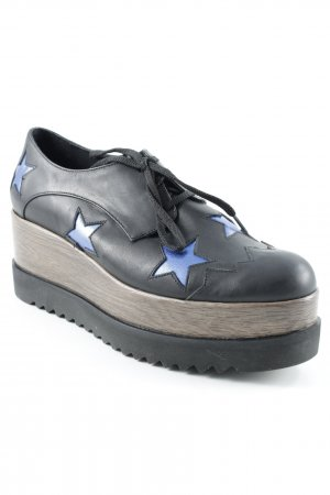 Exe Wingtip Shoes black-blue star pattern casual look