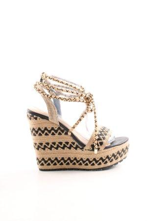 Exe Wedges Sandaletten beige-schwarz Casual-Look