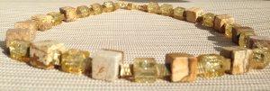 Exklusive Edelstein Halskette Würfel Kette aus Landschaftsjaspis & Kupferwürfel