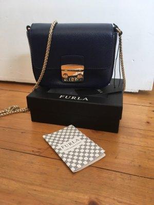 Furla Mini Bag dark blue leather