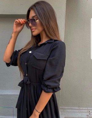 Abito blusa camicia nero