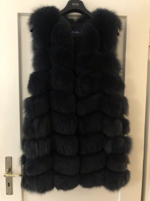 Fur vest dark blue pelt