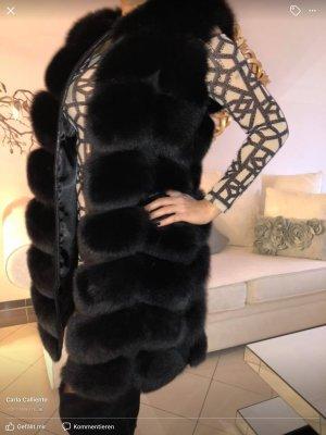 Veste de fourrure noir fourrure