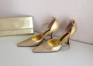 Exklusive Pumps_Highheels_gold Perlmutt_Gr.39,5_Made in Italy