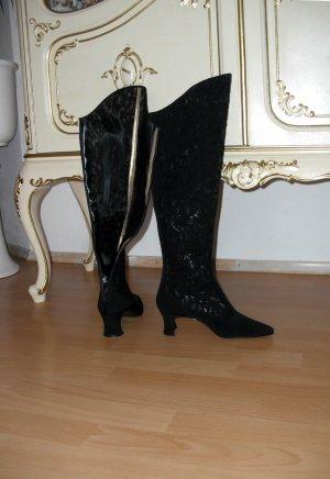 Exklusive seltene YSL Overknee Stiefel mit Spitzenbesatz schwarz Gr.38,5 Neue