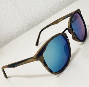 0039 Italy Occhiale da sole spigoloso marrone-grigio-blu neon
