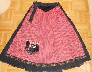 Folkloristische rok zwart-donkerrood