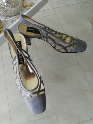 Slingback Pumps silver-colored-light grey leather
