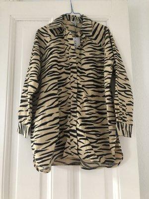 Exklusives Baumwollhemd Ganni Bluse Tiger gestreiftes Muster Zebra 36 PRINTED COTTON POPLIN HEMD