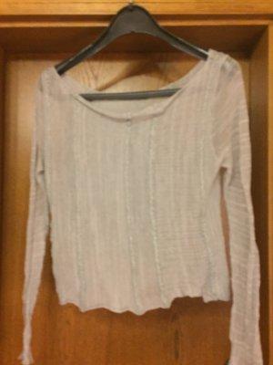 Sarah Pacini Camisa de cuello barco color plata-gris claro