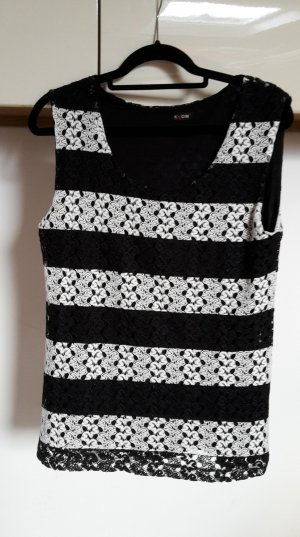 Haut en crochet blanc-noir