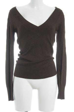 Express V-Ausschnitt-Pullover schwarzbraun-cognac meliert klassischer Stil