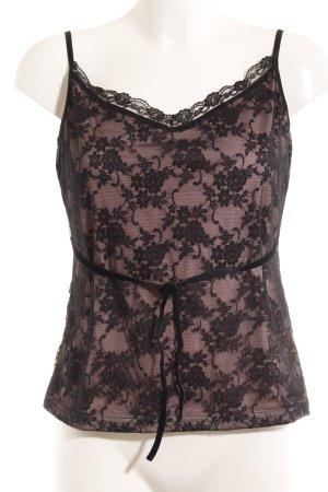 Expresso Camisole zwart-lichtroze bloemen patroon lingerie stijl