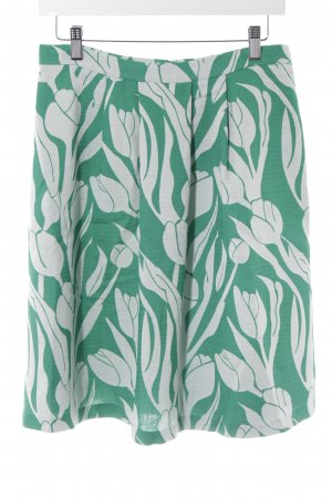 Expresso Faltenrock grün-wollweiß florales Muster Elegant