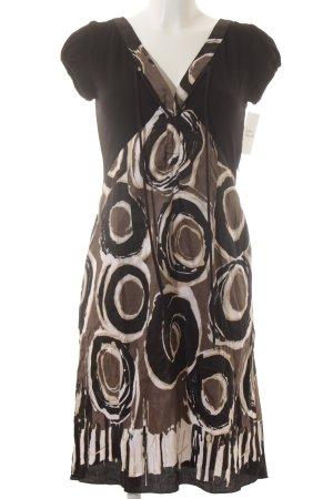 Expresso Jurk met korte mouwen zwart-bruin abstract patroon casual uitstraling