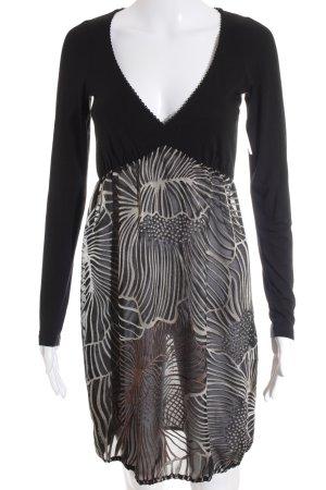 Expresso Jurk met lange mouwen zwart-room abstracte print Jaren 60 stijl