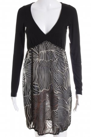 Expresso Langarmkleid schwarz-creme abstrakter Druck 60ies-Stil