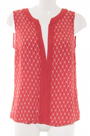 Expresso Top lungo rosso-bianco sporco motivo astratto look vintage