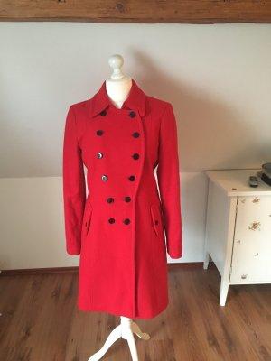 Expresso Mantel rot lang Wollmantel Jacke Winter 40 42 Schurwolle Wollmantel