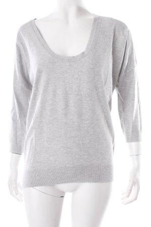Expresso Kraagloze sweater grijs-wit Ingezette stukken van stof
