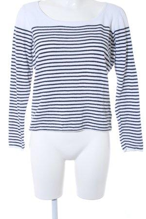 Expresso Kraagloze sweater wit-zwart gestreept patroon marine uitstraling