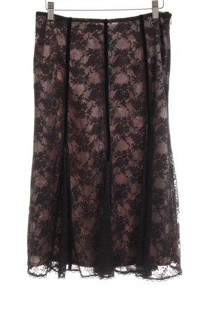 Expresso Gonna di pizzo nero-rosa chiaro motivo floreale stile lingerie