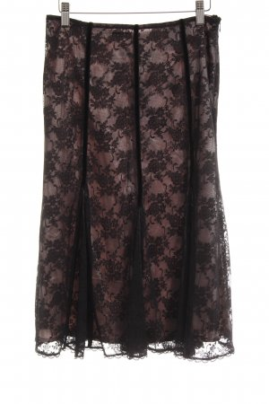 Expresso Spitzenrock schwarz-hellrosa florales Muster Lingerie-Look