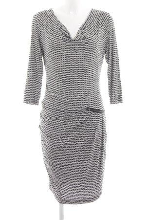 Expresso Stretch jurk wit-zwart volledige print casual uitstraling