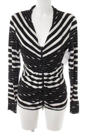 Expresso Sweatjack zwart-wit gestreept patroon casual uitstraling
