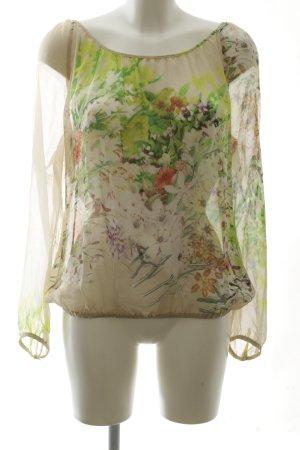 Expresso Transparenz-Bluse grün-wollweiß Blumenmuster Casual-Look
