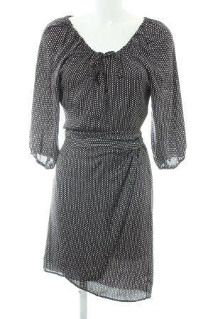 Expresso Vestido cruzado negro-blanco puro estampado con diseño abstracto