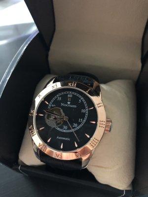 Horloge met lederen riempje zwart-roségoud Edelstaal