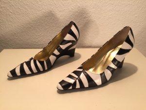 Extravagante Charles Jourdan Wedge-Pumps Zebra-Look Vintage Gr.36