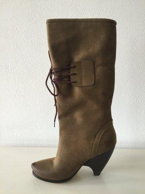 Extravagante Designerstiefel / Olive / Velour / Size 39 / neuwertig