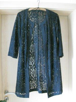 Extravagante Longjacke aus hauchzarter Spitze in blau von Comma in Gr. 34