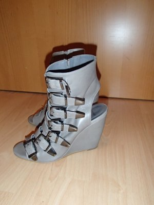 Topshop Platform High-Heeled Sandal grey-grey brown leather