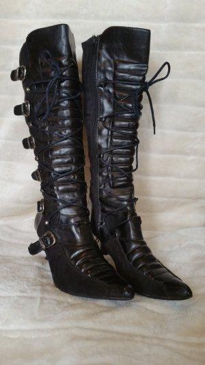Laarzen met hak zwart kunststof