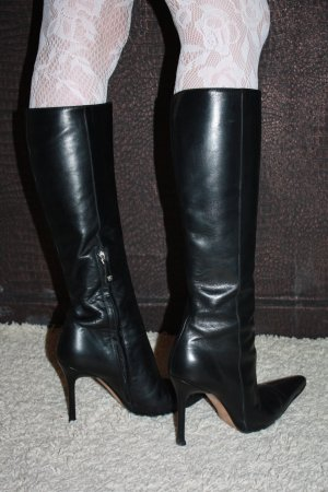 extravagante VERSACE Stiefel 36,5 Leder High Heels 37 STILETTO