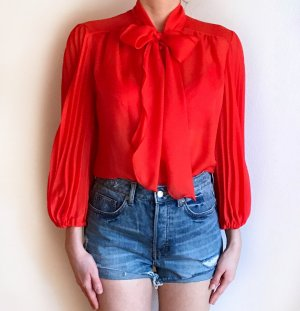 Vintage Tie-neck Blouse neon orange