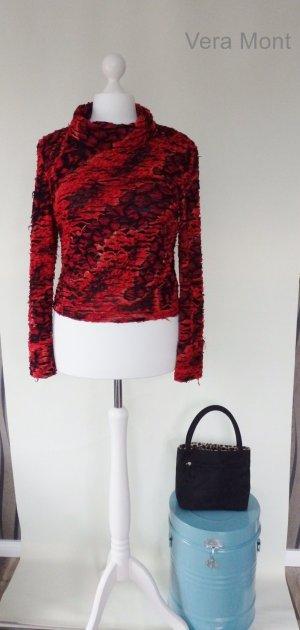 Extravaganter Pullover/Rolli *Vera Mont* Rot Schwarz CutOut Gr.M/L