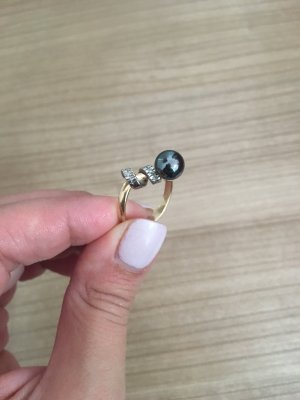 Extravaganter Ring, Schwarze Perle, Gold