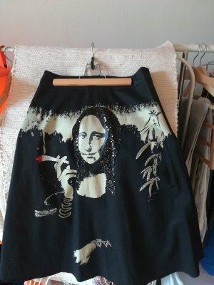 Falda acampanada negro-rojo oscuro Algodón