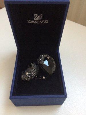 Extravaganter schwarze Ring von Swarovski Kristall, Gr.16-16,5