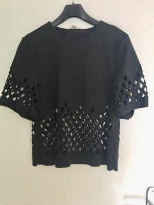 Extravagantes Oberteil in schwarz mit cutouts H&M Trend Größe 38 Herbst Hochzeit toteme