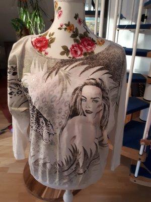 Extravagantes Sweatshirt,Motivdruck,weiß,Gr.36/38