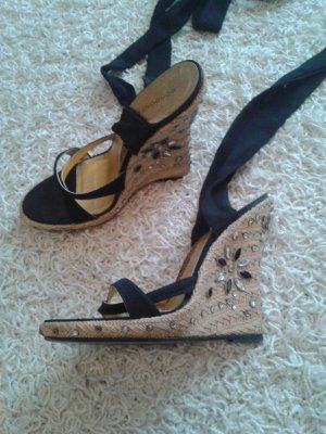 Wedge Sandals black-nude suede